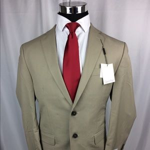 Calvin Klein Mens Tan Blazer Striped Two Button